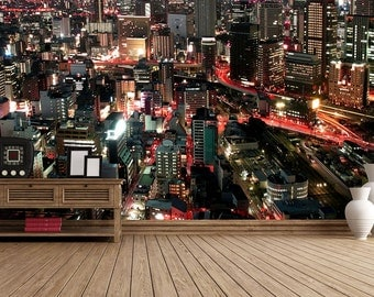 City Scape Light Streaks Self Adhesive Wallpaper