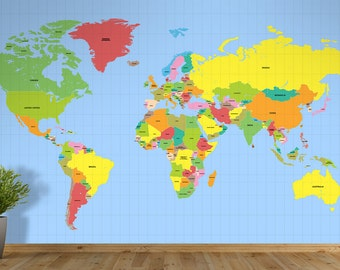 Countries of the World Map Self Adhesive Wallpaper