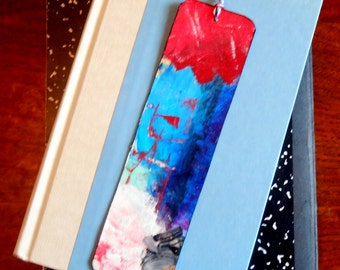 Hand Made Hand Painted Abstract Artsy Bookmark Book Mark Red White Blue