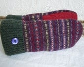 Felted Wool Mittens // Green and Purple Fair Isle Knit Mittens // Warm Repurposed Sweater Wool Mittens