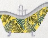 FERN BATHTUB- Machine Embroidered Quilt Block (AzEB)