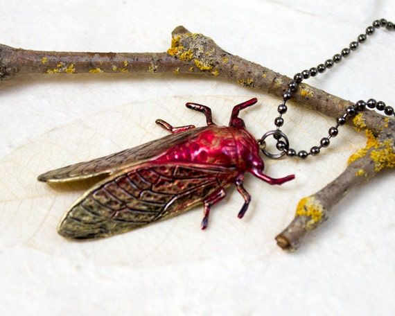 Red Cicada Necklace, Brass Stamping Cicada Pendant, Brown Wing Insect Bug, Good Luck Locust, Entomology Geek
