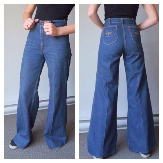 70s Levis Bell Bottoms High Rise Jean Flares Denim Bell