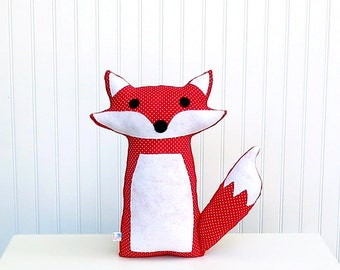 Plush Fox Toy Pillow Stuffed Woodland Nursery Decor