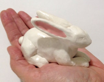 Rabbit Ring Holder, Ceramic White Rabbit Sculpture, Hand-Built Bunny Art