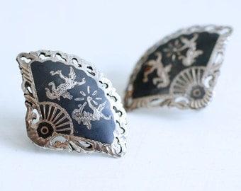 1940s Siam sterling goddess fan Niello earrings / 40s vintage silver Thai Nielloware thunder and lightning goddesses earrings