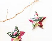 Hansens Natural Soda Cherry Vanilla Stars Soda Can Upcycled Christmas Ornaments