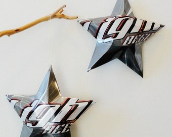 Light Beer Christmas Ornaments - set of 2, Recycled Aluminum Cans, Grey, Gray, White