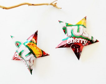 Crush Cherry Stars Christmas Ornaments Soda Can Upcycled Repurposed Gift Topper Red White Orange Green
