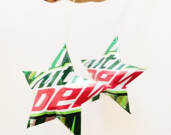 Recycled Mountain Dew Soda Can Aluminum Stars - Set of 2 Christmas Ornaments, Mtn Dew Camo