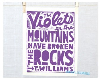 Tennessee Williams Quotes Violets in the Mountains Wall Art Typographic Art Poster