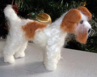 Wire Fox Terrier felted soft sculptre