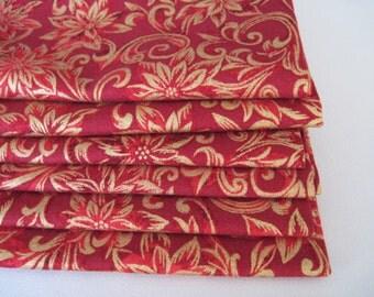 Gold Christmas Napkins Red Poinsettia Napkins Gold and Red Christmas Napkins Gold Christmas Napkins Christmas table decor Elegant Christmas