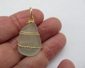 Seaglass pendant, Gift from the Sea, Wire wrapped Pendant for necklace,Gift for Her, Gift under 20