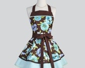 Ruffled Retro Apron - Chocolate Brown and Teal Floral Cute Full Kitchen Apron