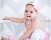 4 piece set HEADBAND BlOOMER NECKLACE and Leg warmers-Chiffon Ruffle Bum Baby Bloomer Snowflake Diaper Cover  Set- Photo Prop- My2lilPixies
