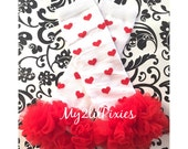 Ready to Ship- Valentine's day heart Leg warmers, White with Red hearts Leg warmers,  red chiffon Baby Girl Leg warmers, Leg warmer