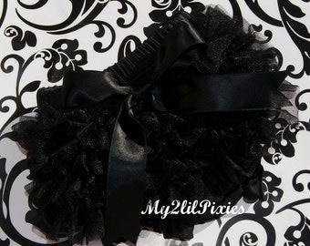 Black Bloomers, BLACK ruffle bum BLOOMER, chiffon ruffle diaper cover, photo prop, newborn ruffle bloomer, Many colors to choose from