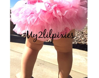 PINK TUTU BLOOMERS, ruffles all the way around,Chiffon Baby Bloomer, Diaper cover, photo prop, newborn bloomer  -ready to ship- Sale