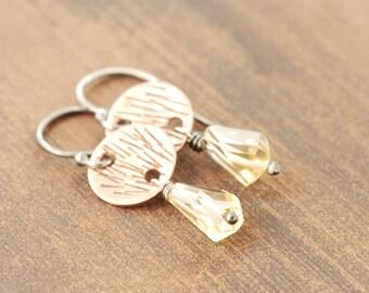 November Birthstone Earrings, Citrine Dangle Earrings, Geometric Citrine Jewelry, Mixed Metal Rustic Jewelry