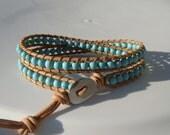 Turquoise Magnesite Beaded Leather Wrap Bracelet