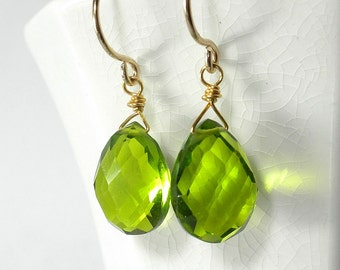 Green Drop Earring Peridot Green Earring Green Briolette Earring August Birthstone Gold Sterling Silver
