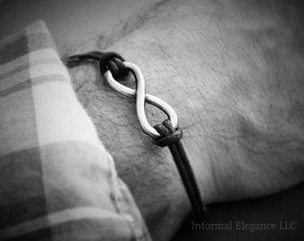 Infinity Bracelet with Clasp, Black or Brown Cord, Unisex Bracelet, Anniversary gift, Wedding Day, Birthday, Gift for Him, Man Bracelet