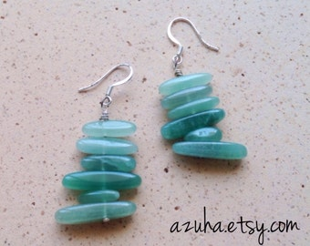 Papina... green aventurine & sterling silver earrings