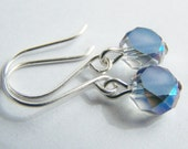 Blue Steel - Petite Glass Crystal Earrings  - FREE SHIPPING WAI - Solid Glass - bridal gift - weddings - bridesmaids - affordable - beach