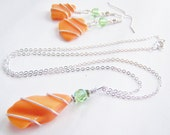 Eclectic Tide Set - Necklace and Earrings Set - sea glass crystals - beach jewelry - affordable treasures -free shipping w.a.i