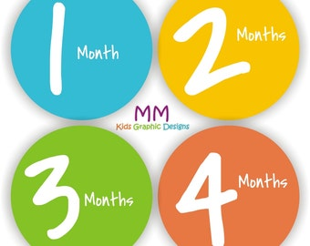 Baby Bodysuit Stickers - Baby Month Stickers - Baby Monthly Stickers - Baby Shower Gift - Colorful Baby Month Stickers