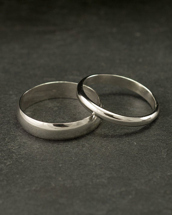 WIDE Wedding Band Set- wide wedding rings