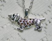 Dachshund crystal pendant - rhinestone pendant - Hot Dog - Doxie - Sausage Dog - Animal Lover - Brown Dachshund Necklace - Puppy - Pet Charm