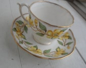 Vintage Periwinkle China Yellow Floral Tea Cup Saucer