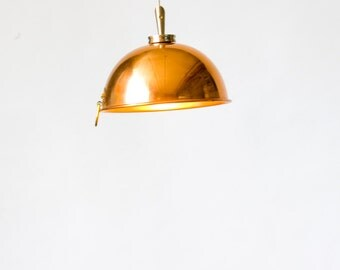 "Copper mixing bowl pendant lights (6"")"
