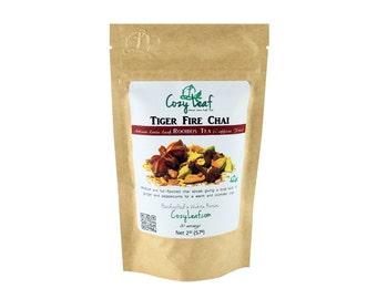Tiger Fire Chai Organic Artisan Loose Leaf Rooibos Herbal Tea by Cozy Leaf