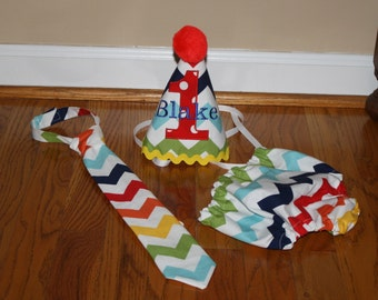 rainbow boys first birthday outfit, boys 1st birthday outfit primary colors, red, yellow, blue, green, birthday hat, cake smash outift