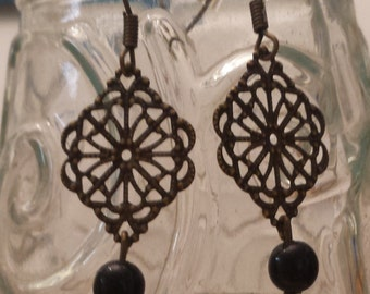 Filigree Brass Diamond Earrings