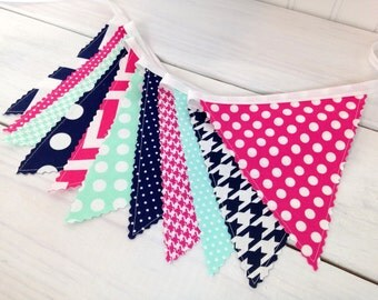 Banner Bunting, Photo Prop, Fabric Flags, Baby Shower, Birthday Banner - Navy Blue, Mint Green, Magenta Pink, Chevron, Dots, Houndstooth