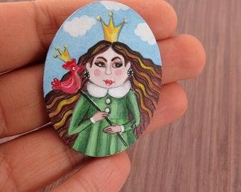 Oval Tiny Unframed Miniature, Acrylic Original Painting on Small Wood Panel Princcess