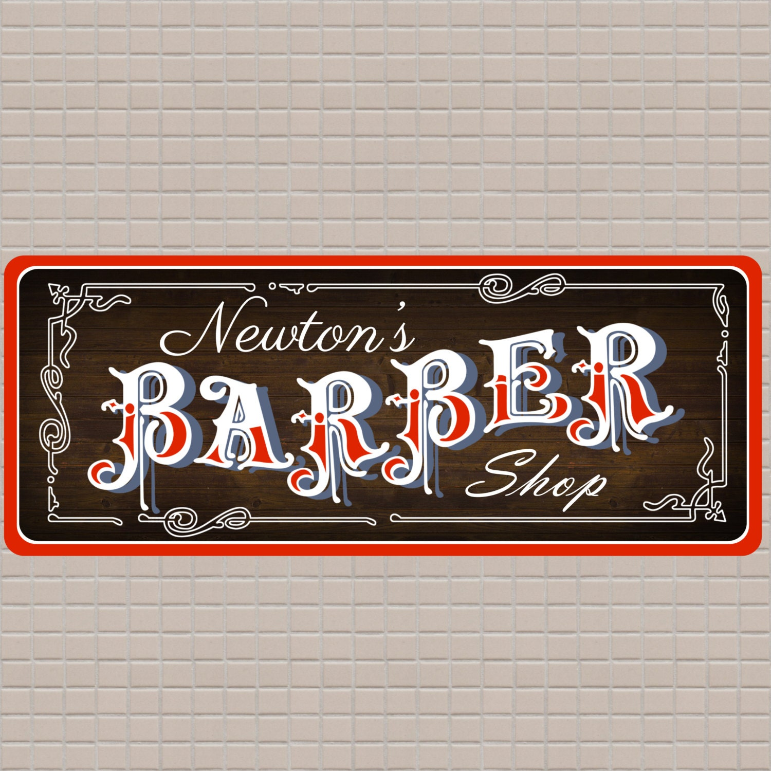 Antique barber shop sign - Old Time Barber Shop Personalized Sign With Wood Plank Background Custom Barber Shop Sign
