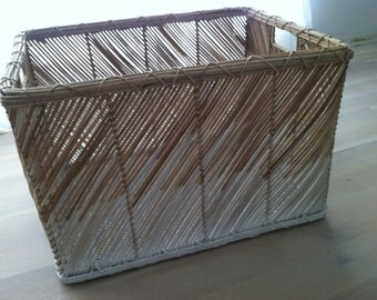Wicker basket hand painted/white washed for Ombre effect