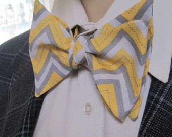 Yellow and Grey Zig Zag Pattern Bow Tie