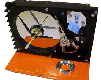 FREE SHIPPING USA! Computer Hard Drive Clock Accented with Shiny Disk Platter Clamp, Base Painted Gloss Orange.