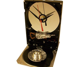"FREE SHIPPING! Hard Drive Clock Accented with Shiny Base and Disk Spindle. Disk Platter has ""Head Crash,"" Poor Data! Got Conversation Piece?"