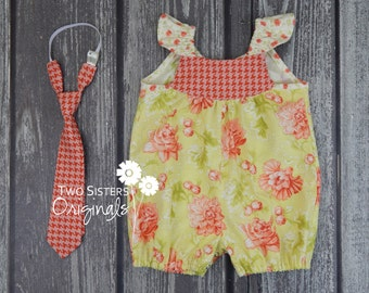 Matching Brother and Sisters Outfits - Spring/Summer  - Boutique Romper & Neck Tie - Somerset
