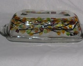 Hand Painted Butter Dish with Autumn Leaves
