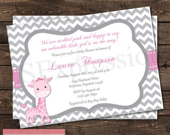 Pink and Gray Giraffe Baby Shower invitation
