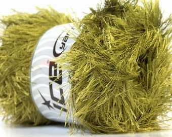 LG 100 gram Olive Green Eyelash Yarn Ice Fun Fur 164 Yards 22739