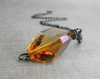 Amber Crystal Necklace, Necklace Copper Crystal, Amber Brown Crystal Pendant Necklace, Oxidized Sterling Silver Necklace Brown Amber